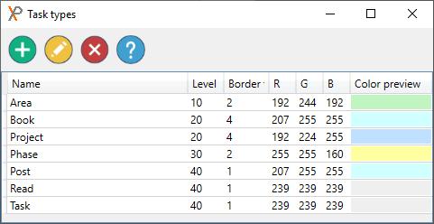 XPlan task types