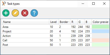 GTD task types in XPlan