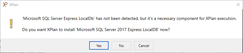 Database engine installation prompt