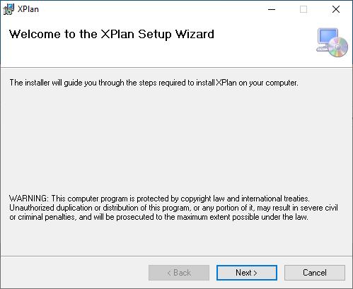 XPlan installation start