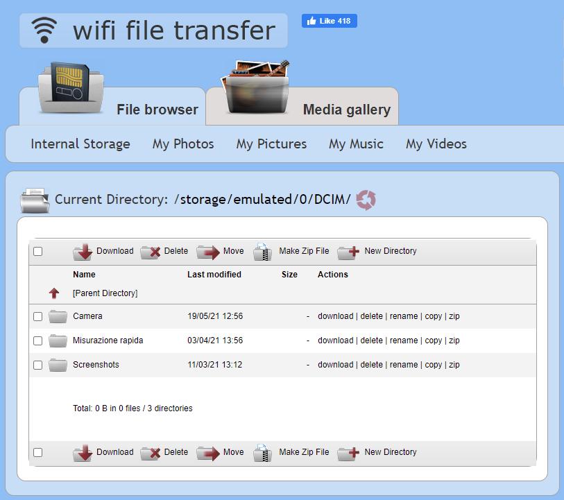WiFi File Transfer - Navigating directories