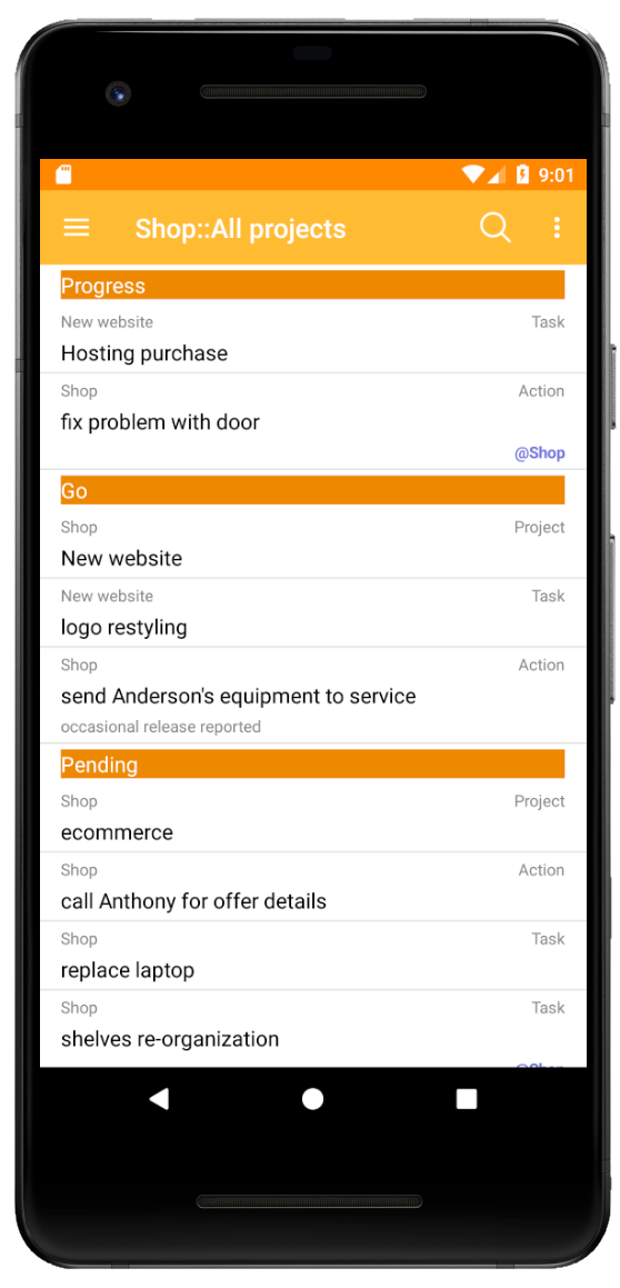 Android Viewer for XPlan - Main screen