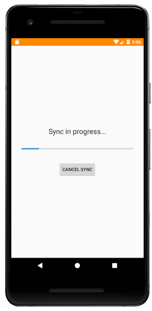 Android Viewer for XPlan - Sync screen